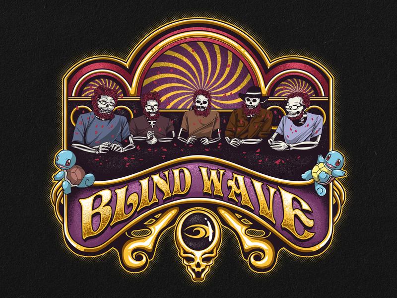 Blindwave Grateful Dead design character design album art cartoon band merchandise artwork tshirt design illustration