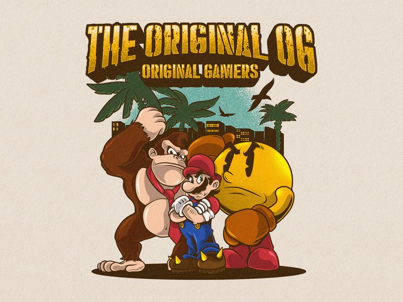 Og Games - Capcom Character pacman donkeykong mariobros design character design album art mascot cartoon band merchandise artwork tshirt design illustration