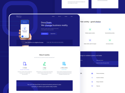 DoxyChain Landing Page business managment document bitcoin blockchain onepage landingpage landing