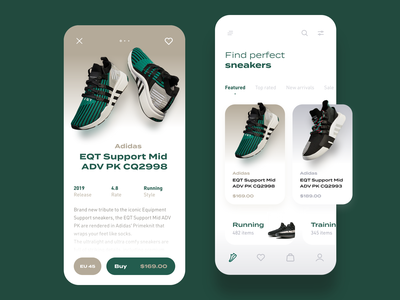 Sneaker Store ux ui interface interaction running training mobile app ecommerce sneakerhead sneaker