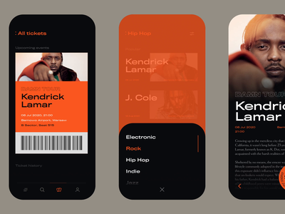 Music Events Animated interaction discover explore gig concerts concert music ticket tickets hiphop animation ui ux app mobile