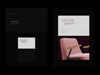 Vente Privee Identity serif typography layout grid elegant design clean animation banner poster event editorial visual key logo identity