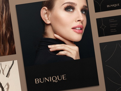 Bunique Brand Identity gold luxury salon beauty design branding brand logo