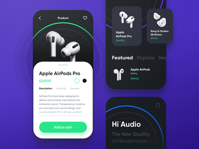 HiAudio Mobile App design ux ui interaction audio product headphones shop ecommerce app mobile