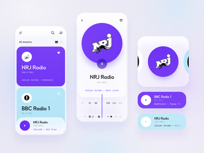 Radio Mobile App player music mobile radio interface interaction design app ux ui