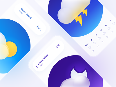 Weather App interface app weather sun night thunderstorm storm design interaction ux ui mobile
