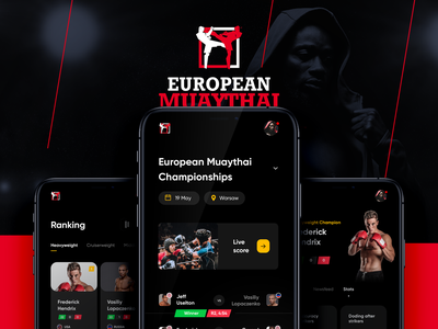 Muaythai Championships App sport dark interaction boxing event ux ui muaythai app mobile