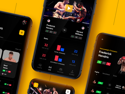 Muaythai Championships App 2 ux ui sport muaythai mobile interaction event dark boxing app