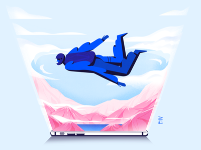 Skydiver phone mountain skydiving skydive character illustration