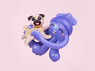 Squid with pug pug squid octanerender octane illustration blender render 3d
