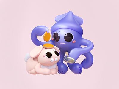 Pancake Bunny cute illustration blender 3d