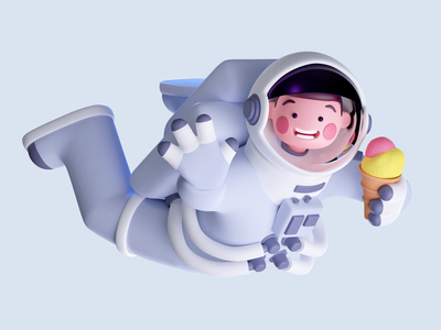 Icetronaut illustration character cycles blender 3d