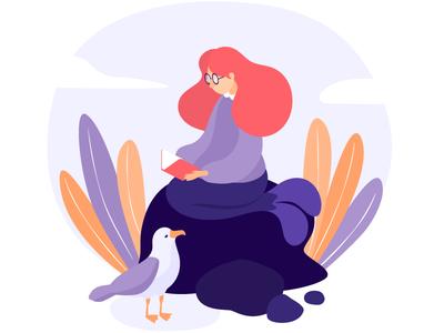 Nerdmaid book mermaid illustration character