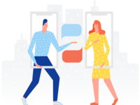 lllustration for language-learning app: Communication
