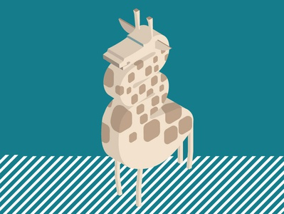 Giraffe isometric green giraffe character design illustration