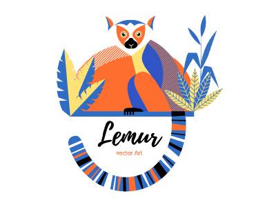 Vector Lemur lemur flat vector illustration animal dribbble