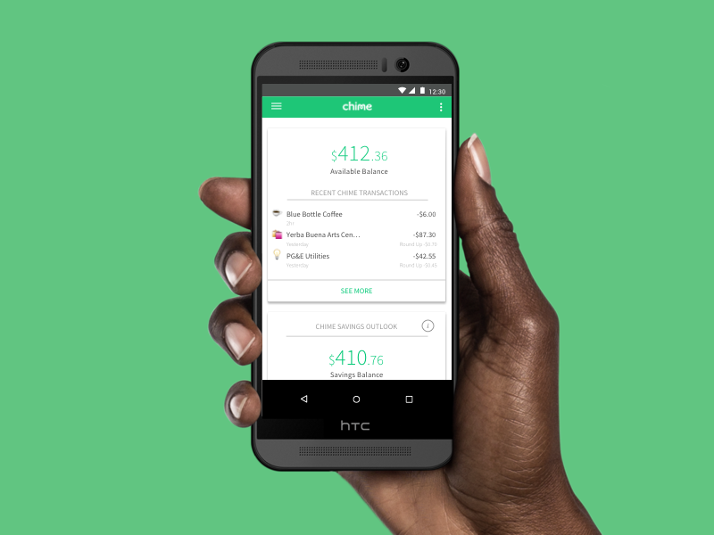 Chime Android mobile app mobile material design millenials finance banking android