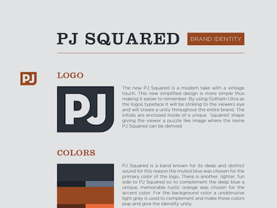 PJ Squared Brand Identity orange layout graphic olars olarsdesign erik johnson pj squared brand identity logo design colors blue typography gotham clarendon