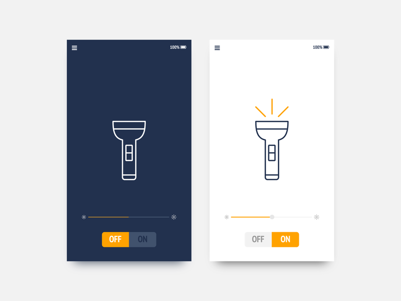 Daily UI 015 On/Off Switch flash mobile app design app torch switch onoff ux ui dailyui