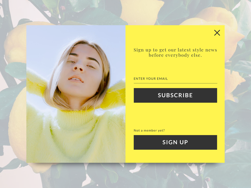 Daily UI 016 Pop up / Overlay signup subscribe web fashion overlay popup ux ui dailyui