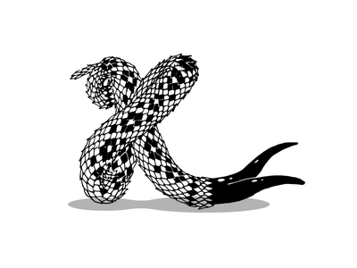 K monochrome snakes black ink hand drawn lettering