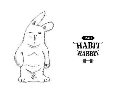 habit rabbit charachter design monochrome branding retro naming logo