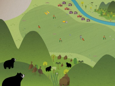 Oso andino andes animation vector illustration
