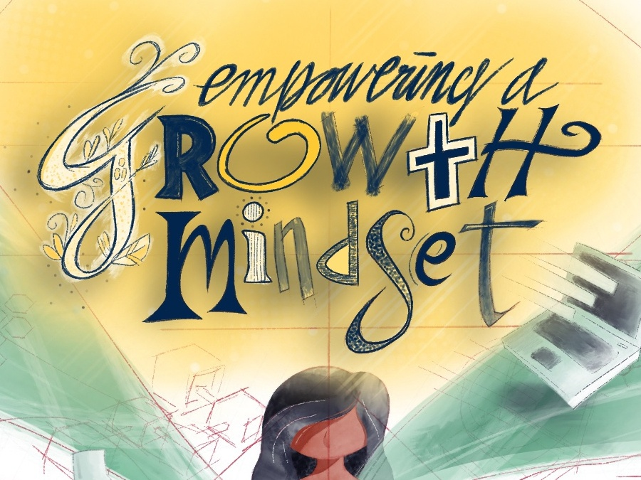 Growth Mindset lettering cartoon script calligraphy typography illustration