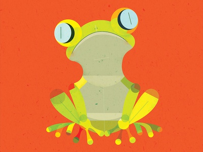 Lemur Tree Frog cute simple flat graphic texture vector animal frog
