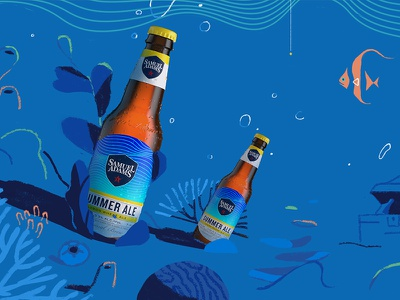 Bottle Coral bottles beer line stylized illustration texture underwater coral