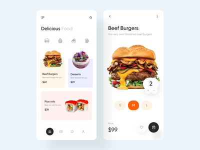 Foodmo - Online Food Delivery App food delivery service food delivery app shopping ios app design product design recipe food delivery food app food drinks ecommerce delivery app burger cart add to bag app
