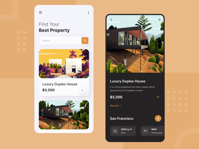 Real Estate App 🏘️ ux ui renting property illustraion house buying typogaphy mobile product design daily ui mobile ui mobile app realestate app