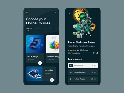 Online Courses App Design app typogaphy product design ux ui mobile app mobile ios app ios app design courses course online courses online online learning online course