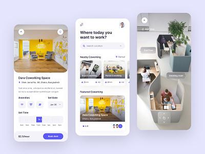Coworking Space App Design ios app app typogaphy ux ui product design mobile coworking space cowork coworking