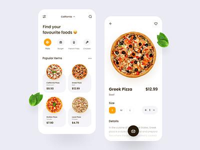 Food Delivery App 🍕 food mobile clean typogaphy product design ux ui pizza food delivery app food app