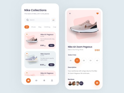 Shoes App ux. ui nike shoes nike ios mobile react native react online mvp startup sneaker ecommerce shop shoping app shoping cart shoping story size product page