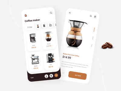 Coffee maker App product page shop coffee online shopping ecommerce shopping app coffee maker app design coffee shop shoping ux ui product product design typography mobile