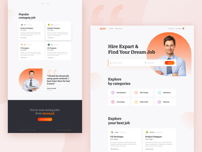Hire Experts & Find your job || Landing Page color ux ui website webdesign designer design modern typogaphy clean hire erxpert hire find job job