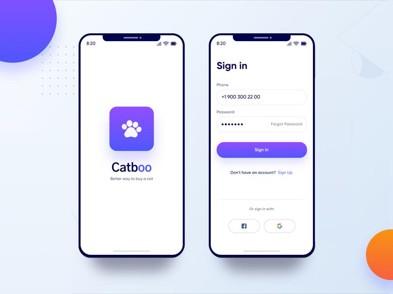 Catboo iOS App typogaphy design ux ui sign up sign in appui appdesign app