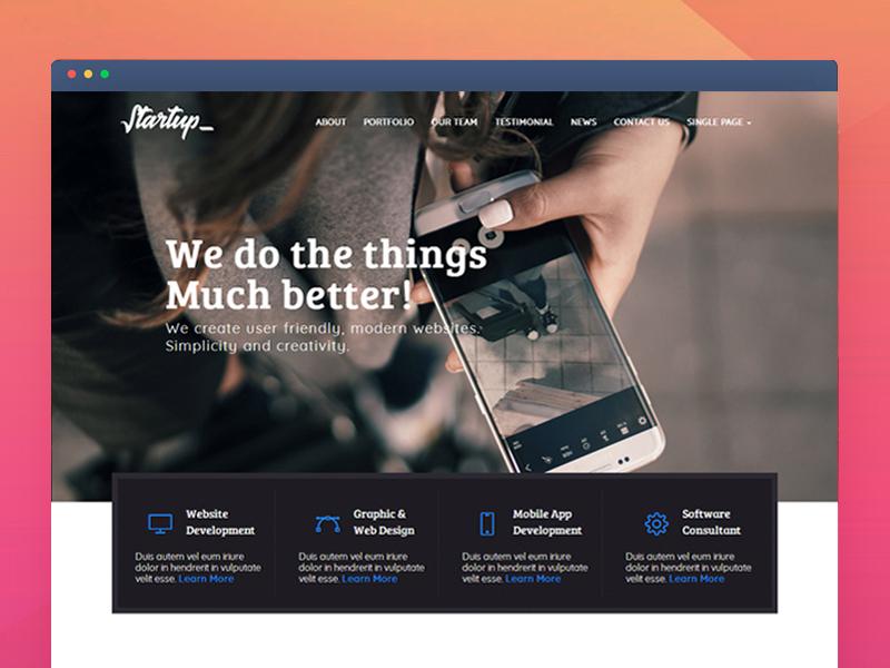 Startup - Multipurpose Corporate Responsive HTML Template simple responsive portfolio one page single page multiple page modern theme template html ui website design
