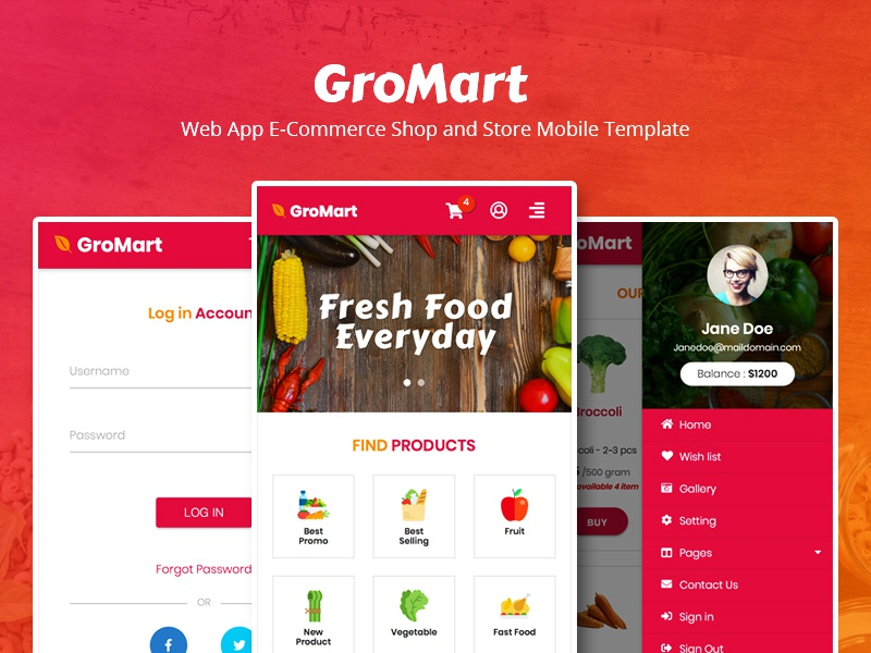 GroMart - Web App E-Commerce Shop and Store Mobile Template template mobile ui store shop responsive market groceries food fashion ecommerce web design