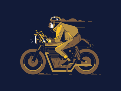 Biker speed ride motorbike bike motorcycle illustrator vector characterdesign character outline illustration