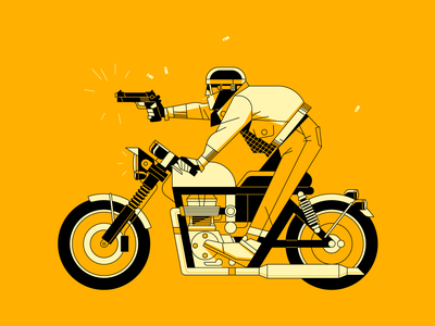 biker gun design outline flat waldek illustrator icon vector character illustration