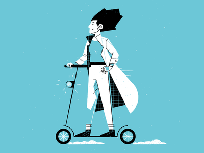 scooter game science woman girl scooter design outline illustrator icon character vector illustration