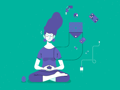 meditating meditation mindfulness design outline flat illustrator icon character vector illustration