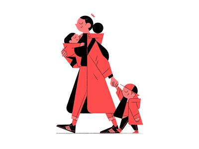 Mom design outline flat illustrator character vector illustration