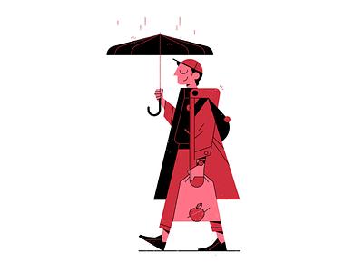 Rainy Day design outline icon flat illustrator character vector illustration