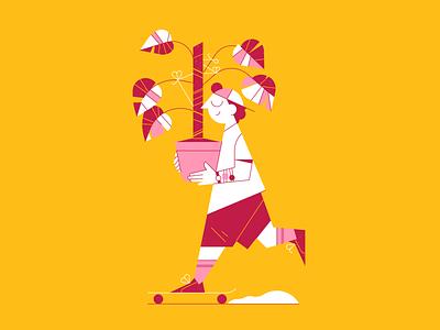 Man with plant skateboard skate plant monstera outline design flat illustrator icon character vector illustration