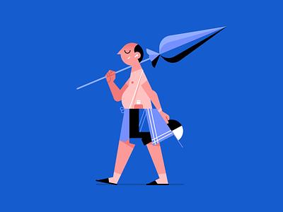 Summertime relax umbrella beach summer design flat icon illustrator vector character illustration