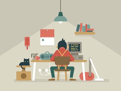 Oldschool Coder vintage vacuum cat graczyk waldek office toptal illustration vector